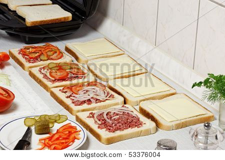 Sandwiches Preparation.