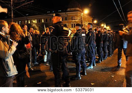 Special unit policemen against peaceful protesters
