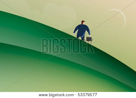Business Man walking down a hill