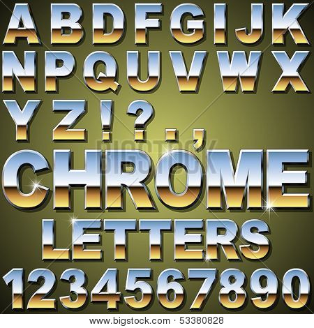 An Alphabet Sit of Shiny Chrome Letters and Numbers