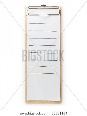 To do list type clipboard, with hand drawn lines. Isolated on pure white.