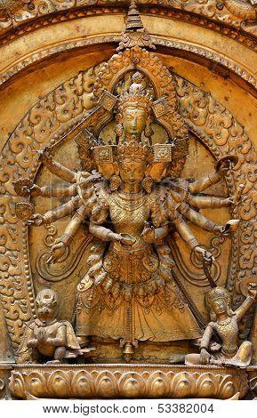 Brazen Relief, Sculpture Of Shiva The Destroyer. Kathmandu, Durbar Square, Nepal