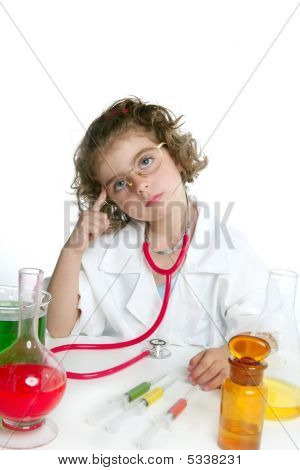Girl Pretending To Be Doctor In Laboratory