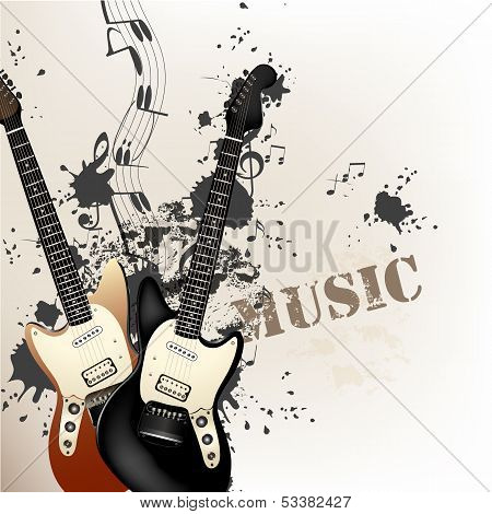 Creative Grunge Music Background With Bass Guitars