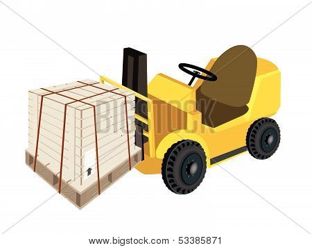 A Forklift Truck Loading A Shipping Box With Steel Strapping