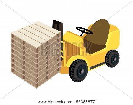 A Forklift Truck Loading Stack Of Wood Pallets