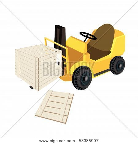 A Forklift Truck Loading Open Shipping Box