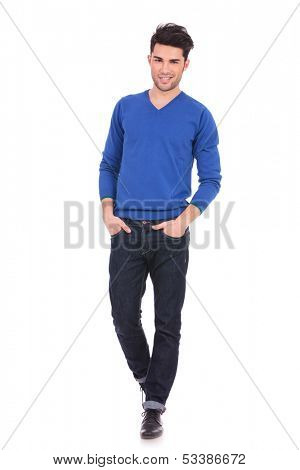 full body picture of a relaxed casual man with hands in pockets on white background