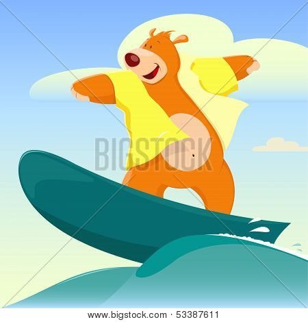 Cartoon Bear Surfer