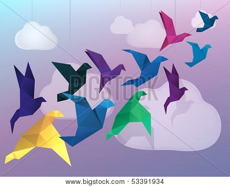 Origami Birds flying and fake clouds