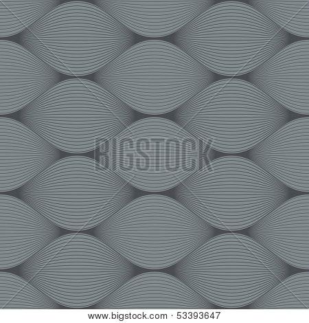 Seamless grey bulge illusion vector pattern.