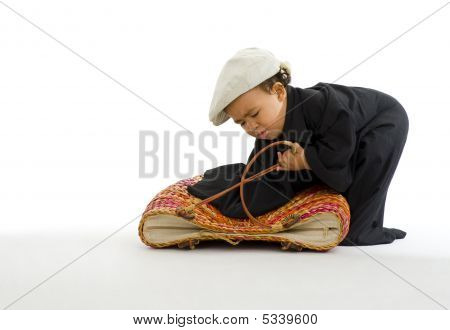 Preschooler With Huge Shirt, Bag And Hat