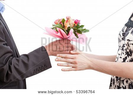 Woman Recieving Flowers
