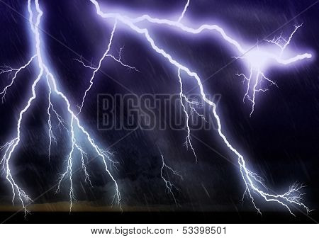 Lightning galore - striking over ocean