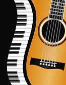 pic of ivory  - Piano Keyboards Wavy Border with Acoustic Guitar Closeup Background Illustration - JPG