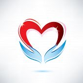 image of environment-friendly  - hands holding a heart vector icon love sharing concept - JPG