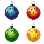 picture of weihnacht  - Set of Christmas balls with stars - JPG