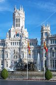 foto of neo-classic  - Cibeles Palace at the Plaza de Cibeles in Madrid Spain - JPG