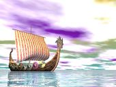 stock photo of viking ship  - A Norse viking ship sailing at sea - JPG