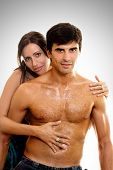 picture of raunchy  - woman embraces and caresses her lover or husband - JPG