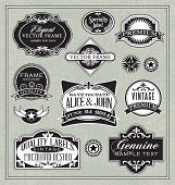 stock photo of oval  - vector vintage labels frames and design elements - JPG