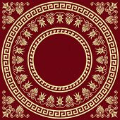 stock photo of fret  - set Traditional vintage golden square and round Greek ornament  - JPG