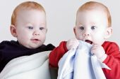 stock photo of fraternal twins  - Two redhead twin boys smiling and laughing on white - JPG