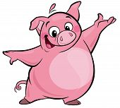 stock photo of pork belly  - Cartoon smiling pink pig character making a presentation gesture - JPG