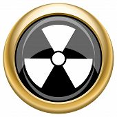 foto of radium  - Shiny glossy icon with white design on black and gold background - JPG