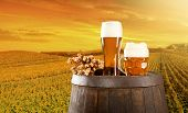 stock photo of keg  - Beer keg with glasses of beer on rural countryside background - JPG