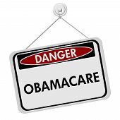 image of mandate  - A red white and black sign with the word Obamacare isolated on a white background Danger of Obamacare - JPG