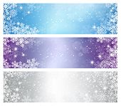 stock photo of symmetrical  - Three elegant Christmas banners - JPG