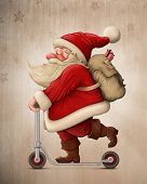 picture of scooter  - Santa Claus with the Push scooter delivery the gifts - JPG