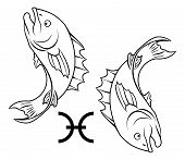 stock photo of pisces  - Illustration of Pisces the fish zodiac horoscope astrology sign - JPG