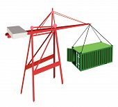 image of crane hook  - A Container Crane Lifting An Open Green Freight Container from Stack To A Ship Container Crane Is A Heavy Machine for Loading and Unloading Container from Container Ship - JPG