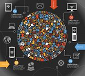 stock photo of social system  - A modern set of infographics and icons Social Media - JPG
