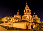 picture of rebuilt  - Cathedral of the Epiphany Irkutsk Russia at night - JPG