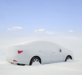 picture of adversity humor  - car covered with snow in the forest - JPG