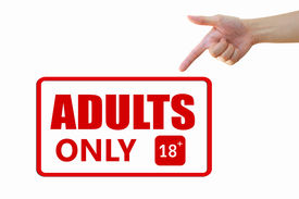 stock photo of x-rated  - Hand with content of adult above eighteen plus above - JPG
