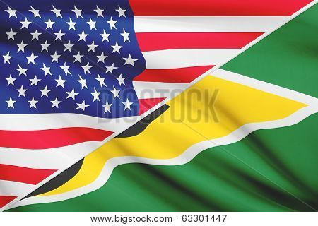 Series Of Ruffled Flags. Usa And Co-operative Republic Of Guyana.