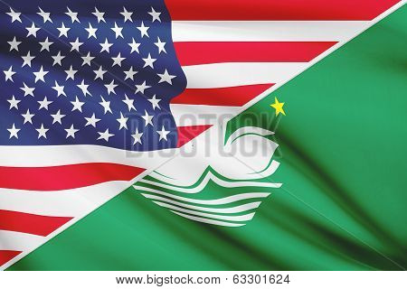 Series Of Ruffled Flags. Usa And Macao Special Administrative Region Of The People's Republic Of Chi