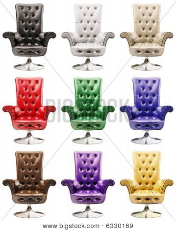 Multi-coloured Leather Armchairs 3D
