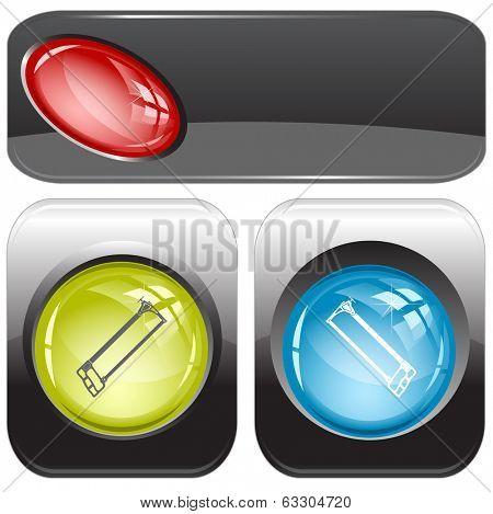Hacksaw. Internet buttons. Raster illustration.