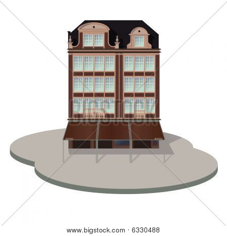 Detailed vector old style hotel
