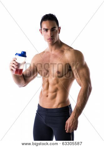 Muscular Shirtless Male Bodybuilder Holding Protein Shake Bottle