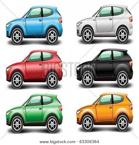 Icons Car SUV of different colors on a white background. Vector illustration.