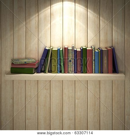 Books on the brown wooden bookshelf