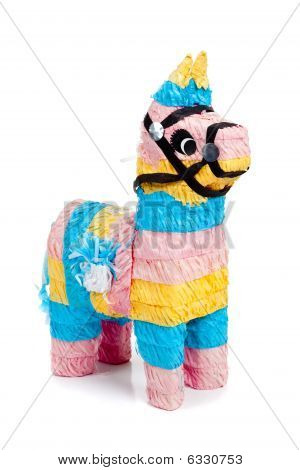 Pink, Blue And Yellow Burro Pinata On White