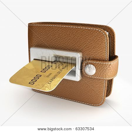 ATM cash point slot in the wallet