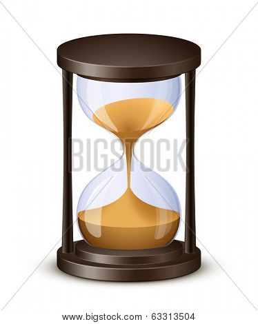 Sand watch. Highly detailed vector illustration of hourglass